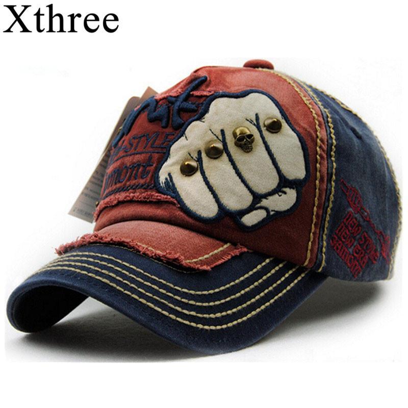 Berretto da baseball delle donne del cappello di Snapback caps cotone casuale degli uomini di moda unisex di XTHREE Estate Autunno Cappello per gli uomini cap T200608 all'ingrosso