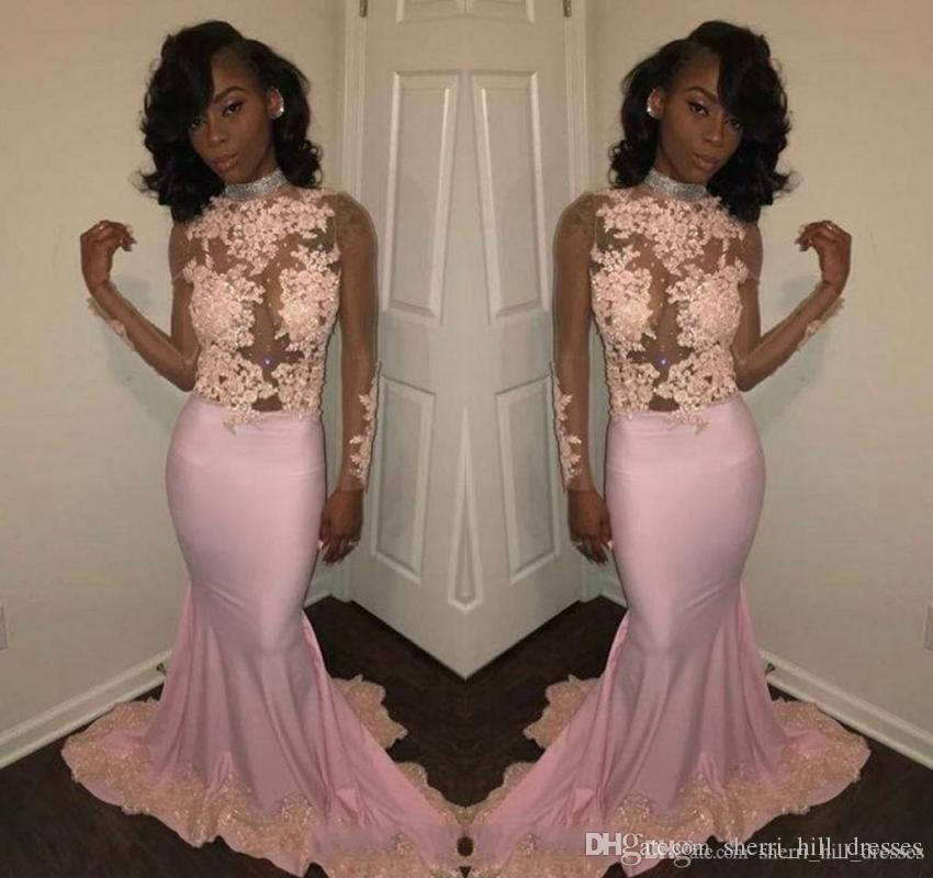 Sexy African Pink Mermaid Prom Dresses High Neck Sheer Long Sleeves Beads Appliqued Lace Evening Dresses Black Girl Party Gowns