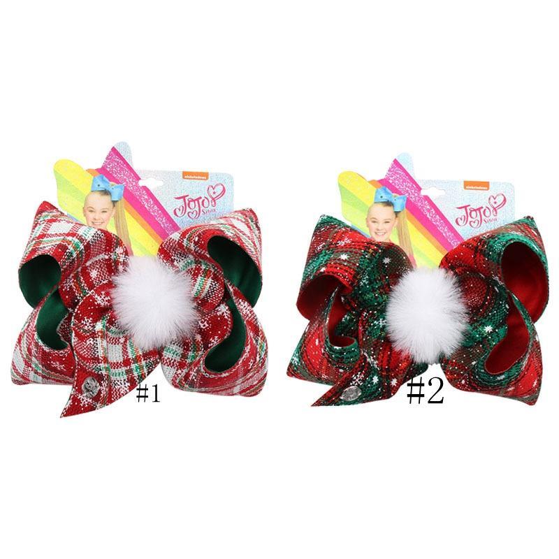 Noel Ekose Firkete 7 inç JOJO ilmek Barrette ile Pompoms Çocuk Çocuk Butik Büyük Baş Saç Klipler Kızlar Saç Pim GGA2926