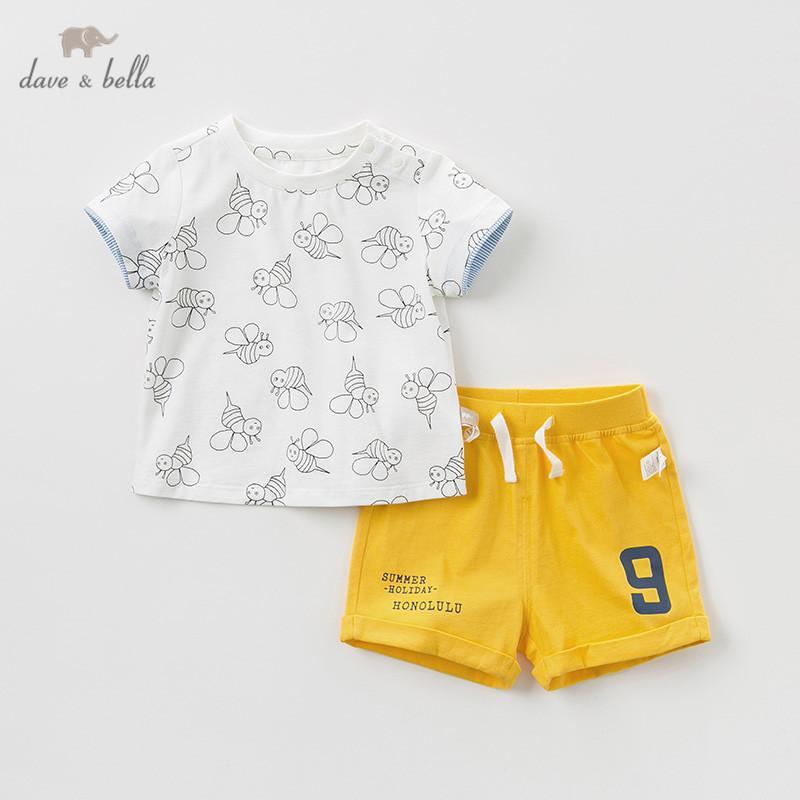 DB11516 de Dave bella del verano de los muchachos de la ropa del bebé de moda casual de manga corta adapte a los niños ropa blanca