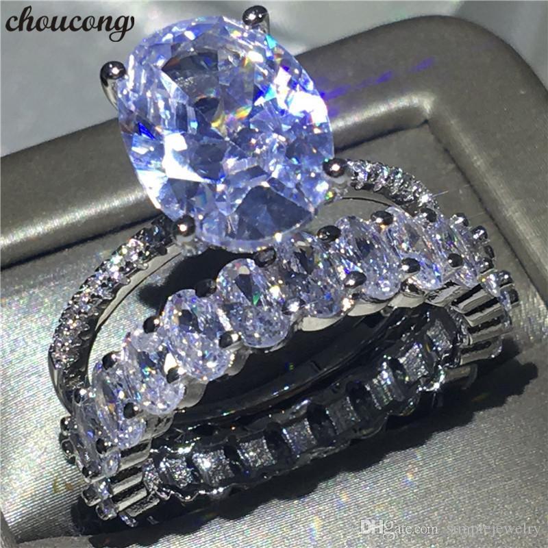Choucong Amoureux Promise Bague Ensemble 925 Sterling Argent Ovale Taille Diamant cz Bague De Fiançailles De Mariage Anneaux Pour Les Femmes Bijoux