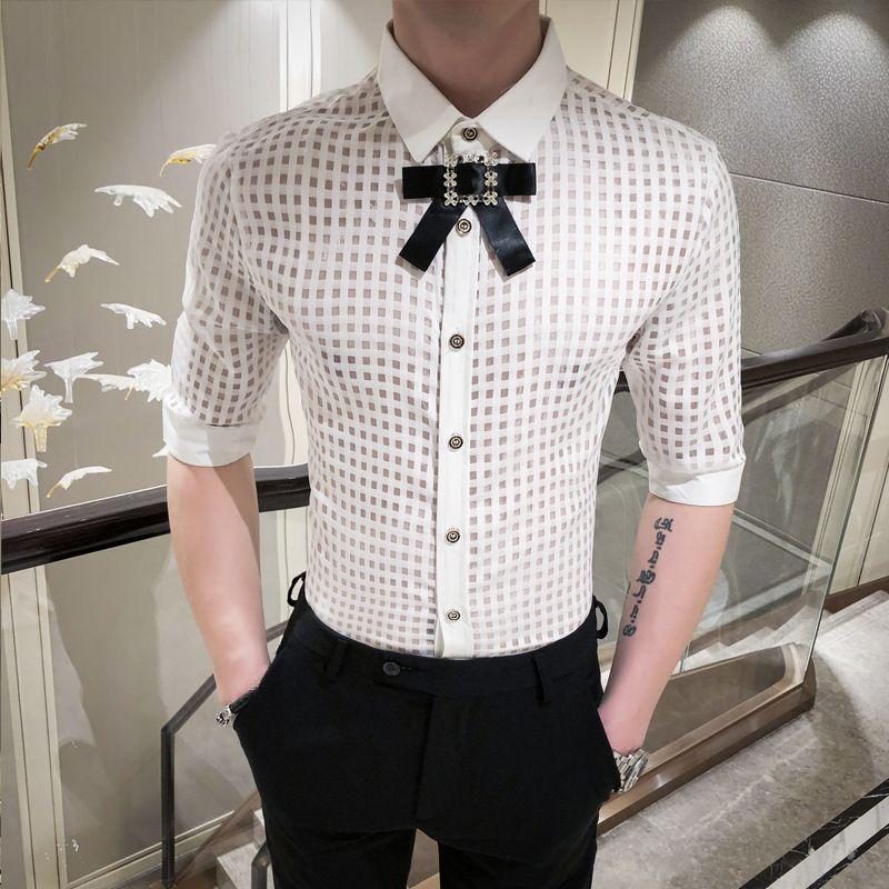 Tela escocesa ver a través de las camisas del Mens Compruebe Transparente vestido de la manera Mens camisas camisa blanca Negro hombre de partido atractivo de la ropa de verano Dres