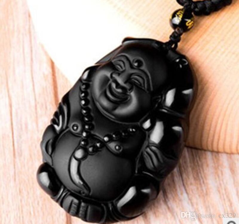 Supply jade natural gemstones open black slate stone gourd Maitreya Buddha pendant pendant wear wholesale