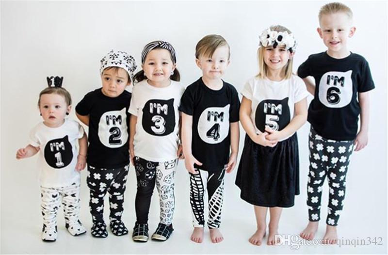 Çocuklar üstleri için 1-6 yıl Doğum Noel çocuğun t gömlek cottonTops Çocuk giyim çocuğun tee elbise kostüm