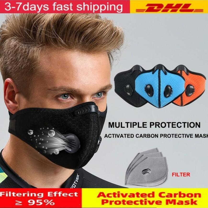 US Stock Cycling half Face Mask With Filter Breathing Valve Activated Carbon PM 2.5 Anti-Pollution Men Women Bicycle Sport Bike Dust Mask