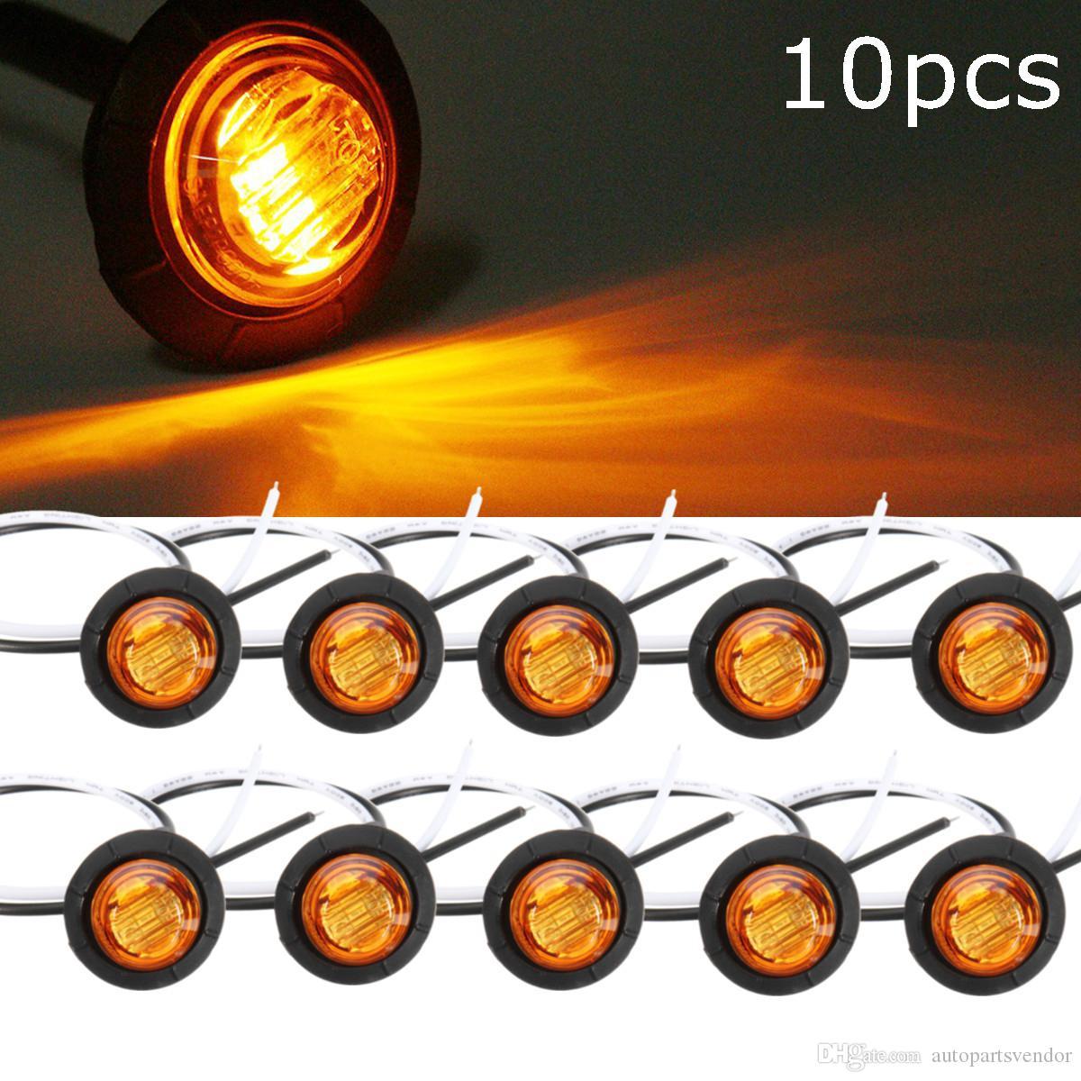 10 unids camión ámbar amarillo impermeable led luz led pequeño lado redondo luces de marcador 3 lámparas de botón LED LORRY 12V / 24V