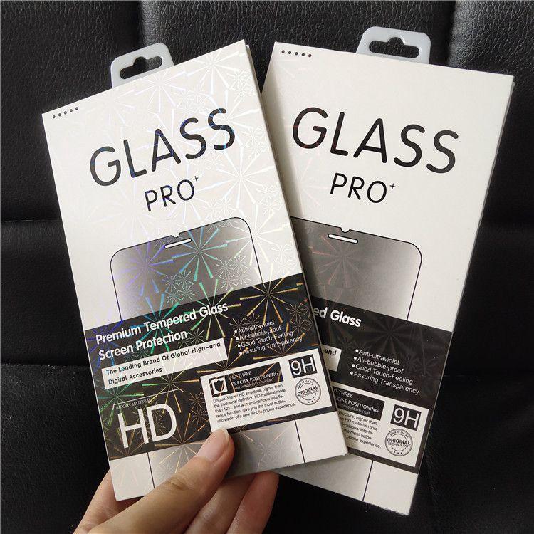 الحدود الملونة بالليزر فارغة حزمة البيع بالتجزئة حزمة خفف من الزجاج 9H حامي الشاشة لفون X XS MAX XR 8 7 Huawei Xiaomi