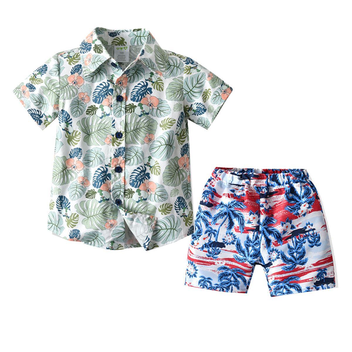 Reise 2020 Sommer-Junge-Set Kinder-Strand-Ferien-Strand-Hosen gedruckt Hemd Strand-Hosen-Set