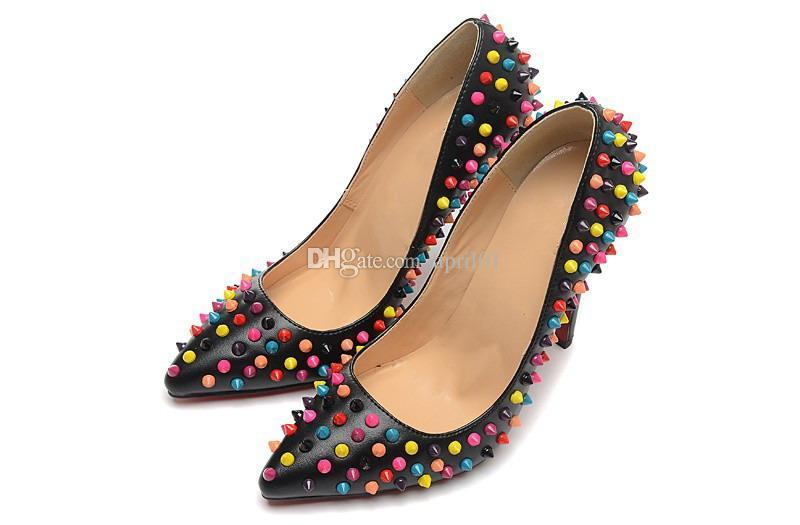 New Designer 12cm Sexy High Heels Ladies Shoes Genuine Leather Cloaked In A Colorful Candy Spikes Women Dress Shoes Pumps