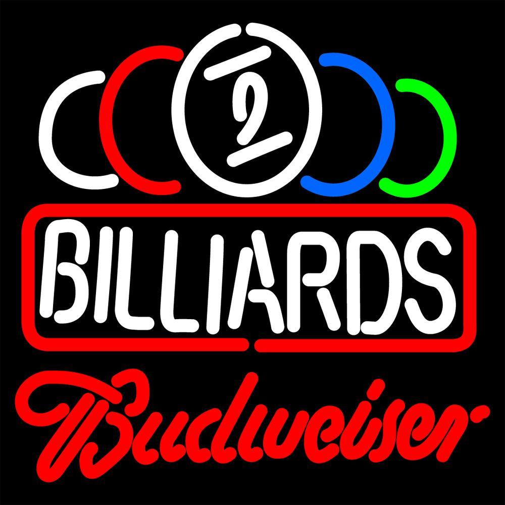 Budweiser Neon Ball Billiards Text Pool Neon Sign Light Handmade Real Glass Tube Wall Display Artwork