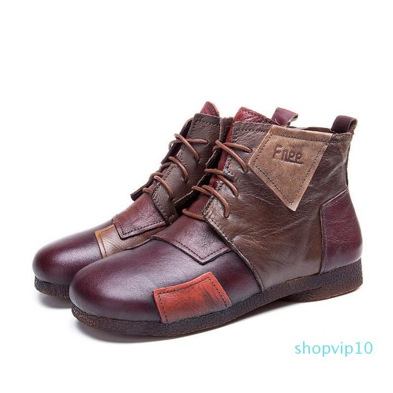 2017 Moda El Yapımı Boots For Women Gerçek Deri Ayak bileği ayakkabı Vintage Anne Ayakkabı Retro Halk Stil Safir Çizme