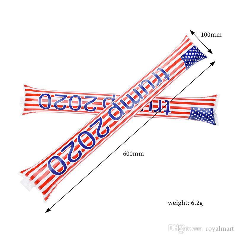 ترامب 2020 علم الولايات المتحدة الأمريكية نفخ العصي المشجعين عصا ضد الهتاف صانع العصي الضوضاء اللوازم الولايات المتحدة الانتخابات العامة