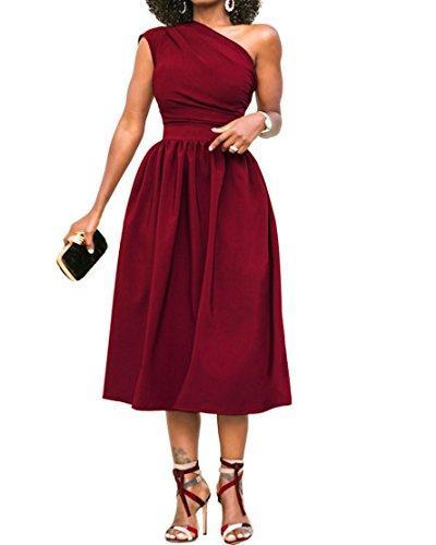 Cymbopogon Bayan Bir Omuz Elbise Örgün Akşam Zarif Kolsuz Midi Elbiseler ile Cepler