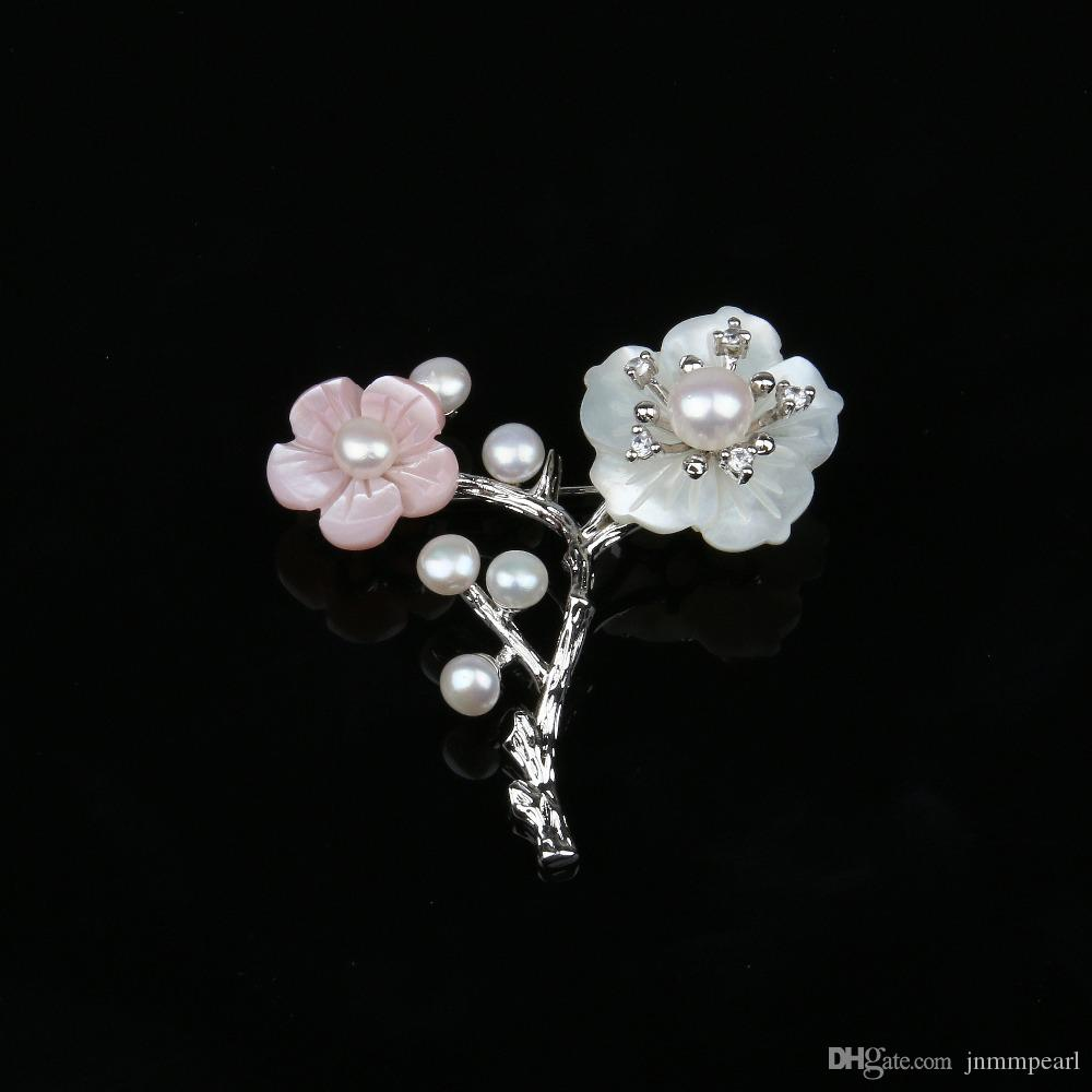 JNMM 2018 Brooches Jewelry High Quality Natural Pearl Shell Flower Zircon Brooch Pins Wedding Accessories 2 Colors