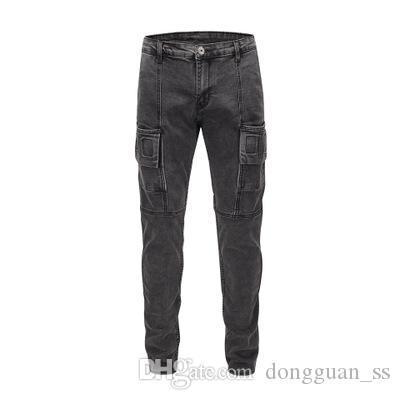 Noir en stock Hommes grande taille Jeans Hommes Griffe Washed Jeans trou Applique Peinture Jeans Fashion Joker Pantalons simple