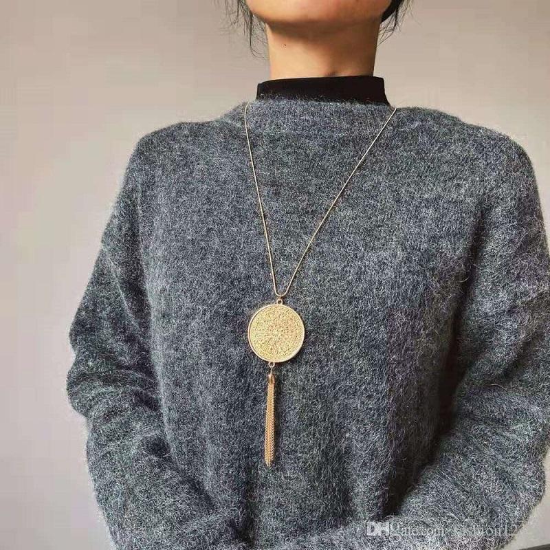 Gold maya Scheibe Quaste Anhänger Halskette für Frauen Luxus-Designer-Franse lange Halskette goldenen Quasten Pullover Ketten Schmuck Liebe Geschenk