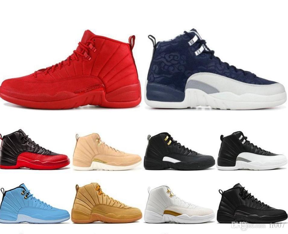 Mens 12s Casual Shoes FIBA Gioco Reale Winterize palestra Red Michigan Bordeaux 12 Il Master Flu gioco Taxi formatori scarpa da tennis Sport Dimensioni 7-13