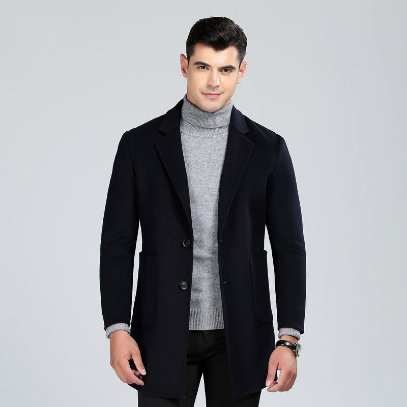 High quality hand made double face wool coat men 2018 new style single breasted turn down collar woolen trench coats