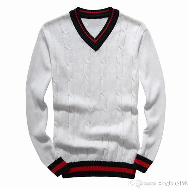 2019 Lazer Dos Homens Camisolas de luxo camisola bordada blusas de alta qualidade manga comprida Pulôver de tricô camisola camisa de cor Sólida