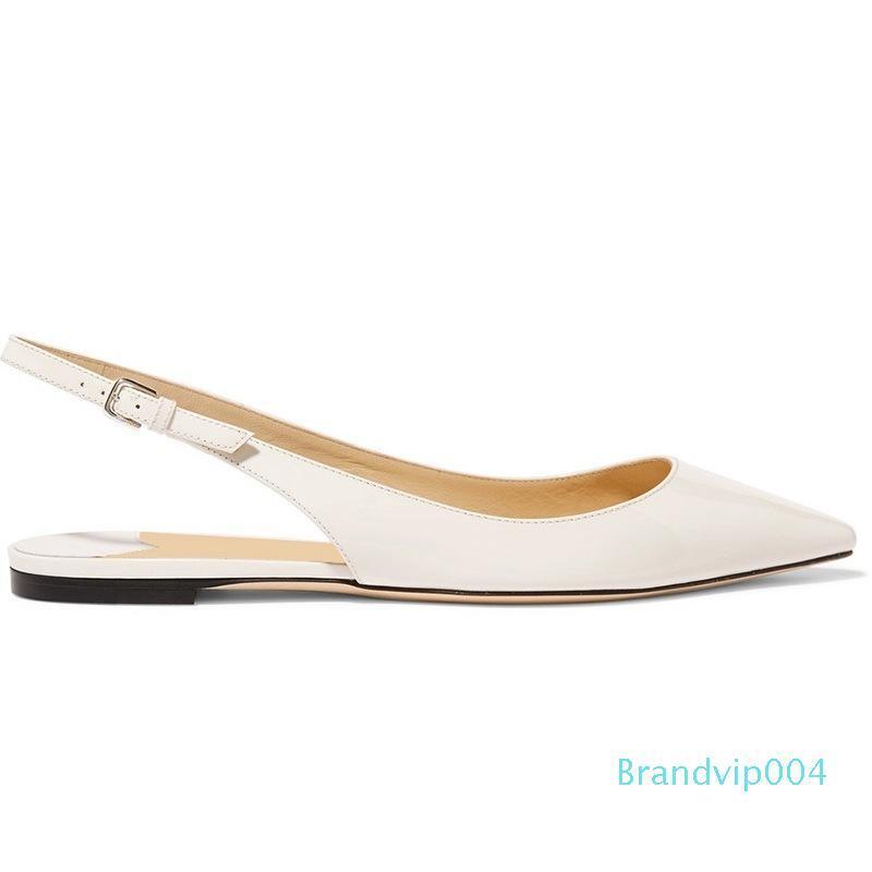 Amazing2019 Плоский Белый Лаконичный Низ Лакированная Кожа Острый Задний Воздух Удобный Уровень С Одной Обувью Женщина