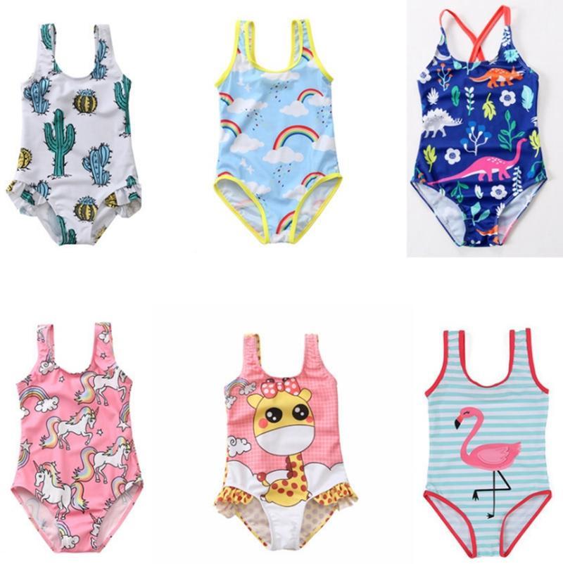 Baby Swimwears Einhorn Mädchen Bathsuit Ein Stück für Kinder Badeanzug Kinder Strand-Bikini-Sommer-Kinderkleidung Dinosaurier Flamingo WZW-YW2628