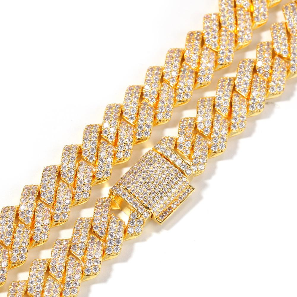 14mm Cuban Chain Micro Pave Cubic Zircon Luxury Bling Bling Full Iced Out Hip hop Jewelry