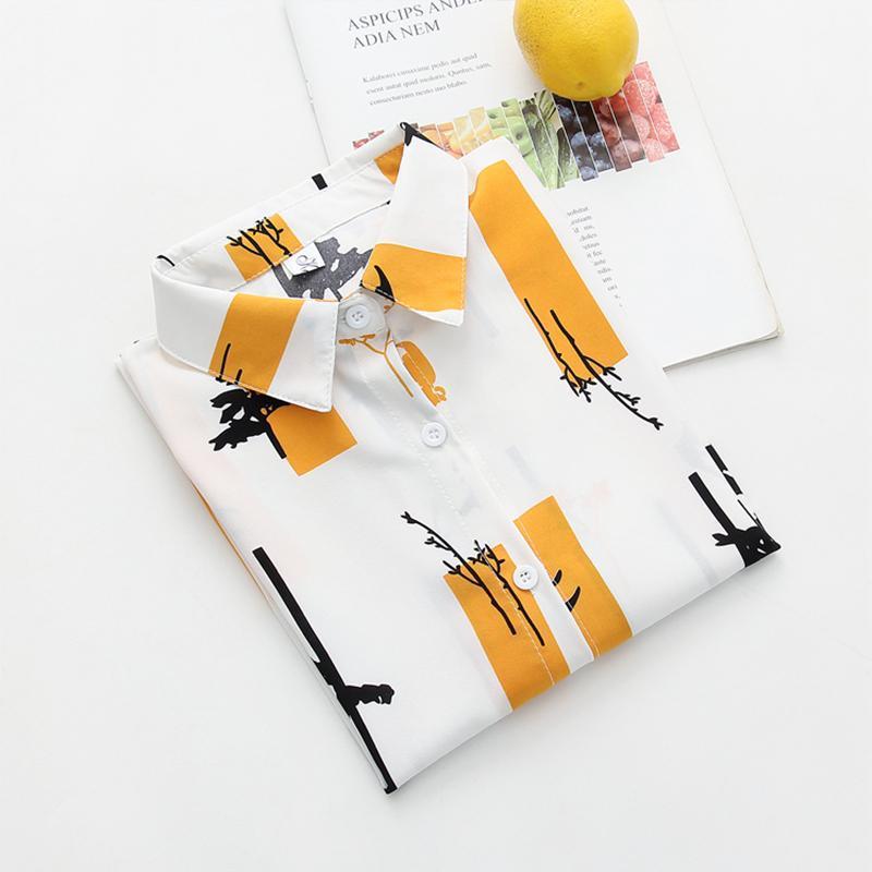 Praia Pintura verão de moda de Nova Mulheres Vintage shirt de manga comprida solta chiffon blusa Casual Tops Feminina
