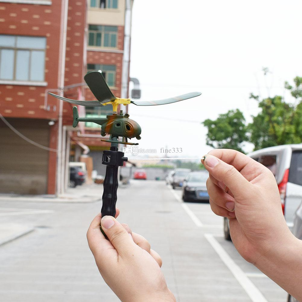 handle pull aircraft Funny Pull String Handle Powered Aircraft Handle Pull Wire Helicopter Outdoors Toys Gift for Children