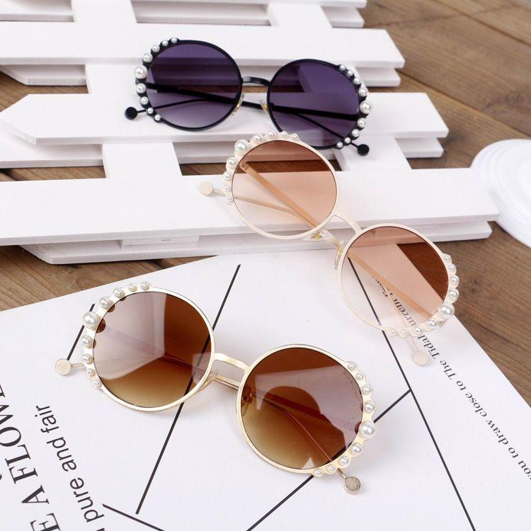 어린이 선글라스 2019 NEW 어린이 진주 패션 아기 소녀 태양 라운드 oculos UV400 선글라스 안경 3-9년 골든 어린이 oculos