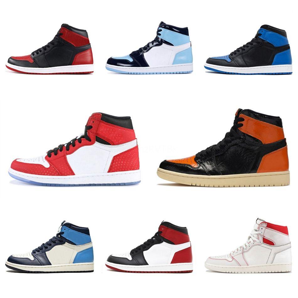 2020 Shoes New Jumpman 1 High O The Pink Ouro Verde Graffiti Basquetebol boa qualidade Mulheres Homens Moda Casual 1S Sports Sneakers # QA805