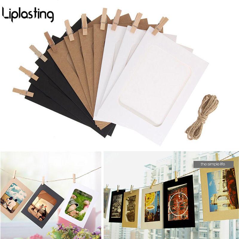 10PCS 5 بوصة DIY الإبداعية تعليق على الحائط الإطار العام صور كرافت ورق الصور وحبل كليب الديكور المنزلي
