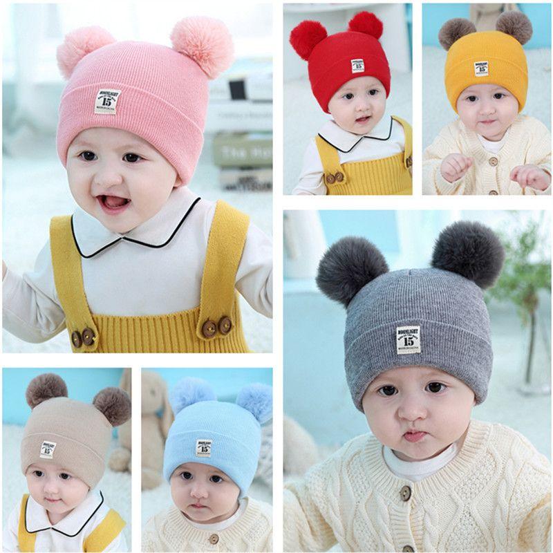 Infant Baby Knitted Hats Cartoon Pom Poms Beanie Spring Autumn Skull Cap Boys Girls Crochet Hat Fashion Ear Muff Kids Knit Beanies 6 Colors