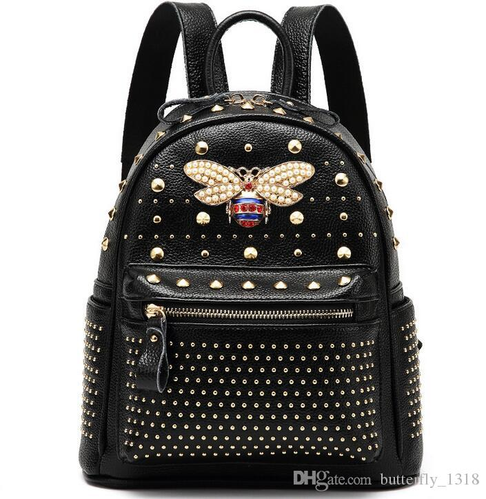 New Women's Backpack Fashion Style Designer Brand Stud Bee Travel Bag High Quality Backpack Casual Shoulder Bag