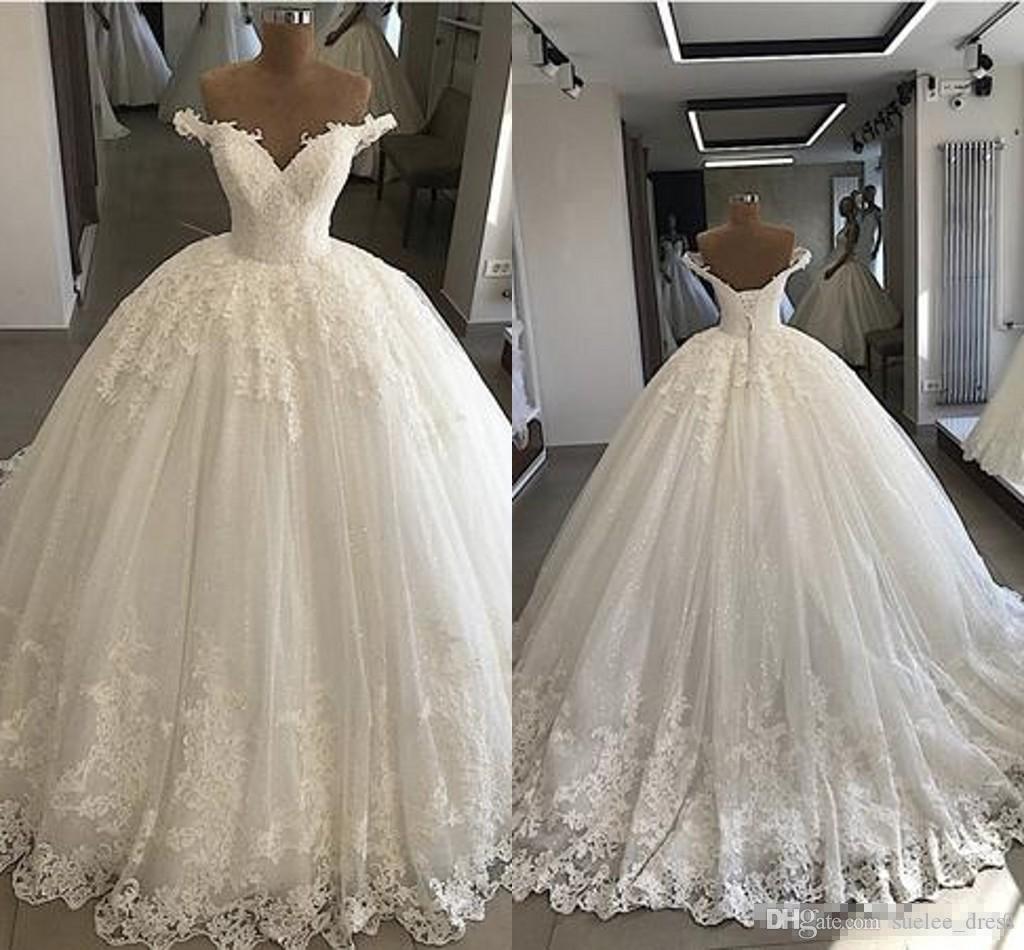 Elegante fuori dalla spalla Abiti da sposa abiti da sposa in pizzo Applique Sweep Train Made Custom Made Plus Size Bridal Gown Vestido De Novia
