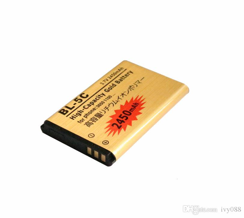 5 adet / grup 2450 mAh BL-5C BL5C BL 5C Altın Yedek Pil Nokia 3650 Için 1100 6230 6263 6555 1600 6630 6680 6550 6230i Piller