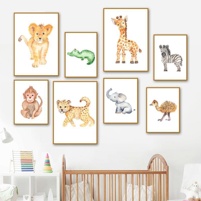 Elefant Giraffe Löwe Zebra Schlange Krokodil Wand-Kunst-Leinwand-Malerei Nordic Poster und Drucke Wandbilder für Kinderzimmer Dekor