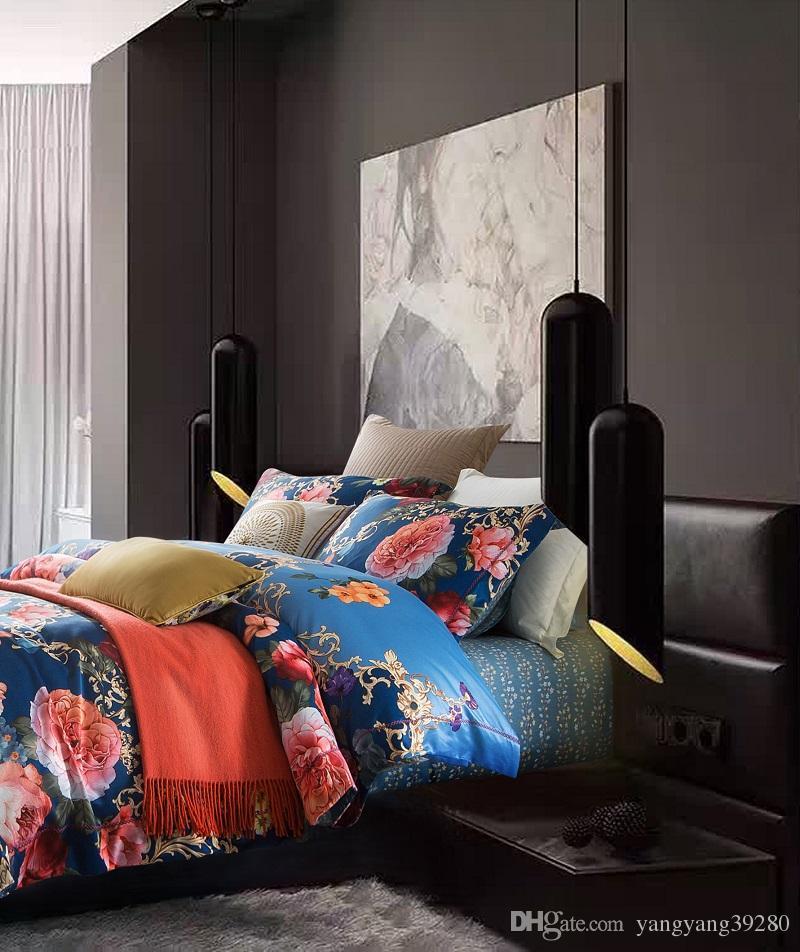 Sheng Sha tao Textiles para el hogar de estilo europeo de lujo Tencel seda de la flor de cama fija reina rey cubierta de edredón tamaño de la falda fundas de almohada