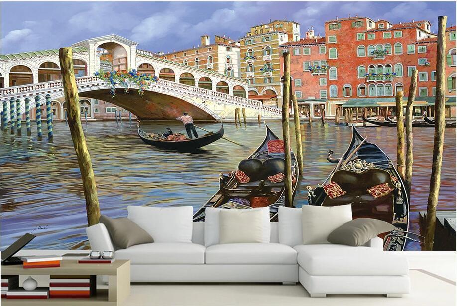 3D Wallpaper individuelle Fototapete Wasser Stadt architektonisch Ölgemälde Europäische Bogenbrücke Schiff Hauptdekor Wandmalereien Tapete für Wände 3 d