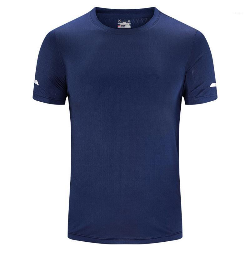 Cou à manches courtes stretch Hommes Sport T-shirts Formation Plein Air Hommes respirant Hauts Homme T-shirts Séchage rapide O