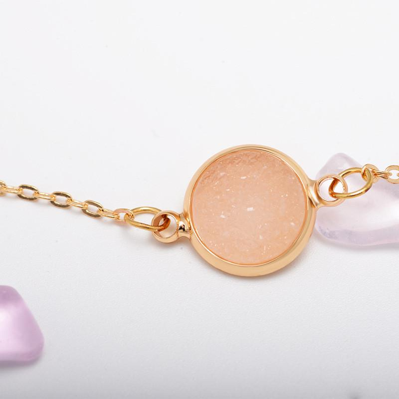 Geometric Resin Disc Pendant Necklace for Women Gold Color Metal Chain Elegant Minimalist Clavicle Chain Jewelry Wish Gift