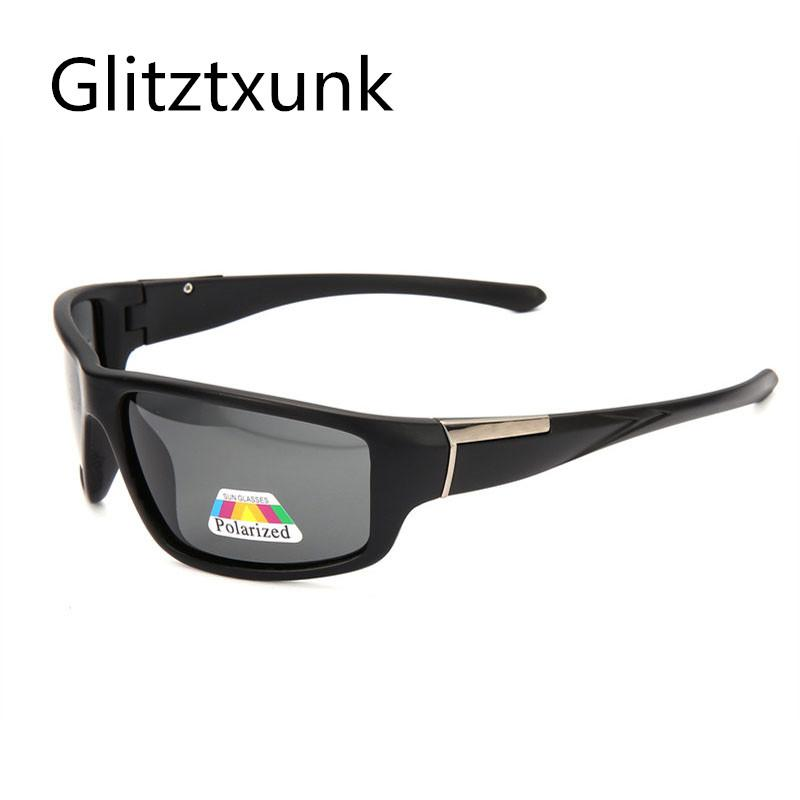 Glitztxunk óculos polarizados Homens Esporte óculos de sol da marca Vintage Driving Masculino Sombra Goggles UV400 Preto Eyewe