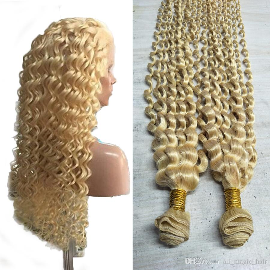 "2019 Hot Sell Blonde Curly Human Hair Extensions 613 Blonde Human Hair Weave 100g 26""28""30"" Virgin Hair Bundles Factory Outlet"