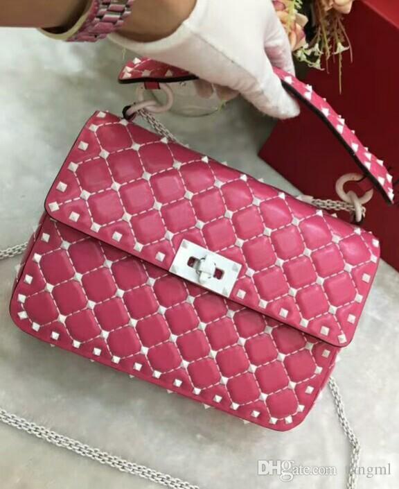 2019 new real high fashion genuine leather handbag diamond lattice metallic white colorful rivet cross body pack sheep skin full start M24cm