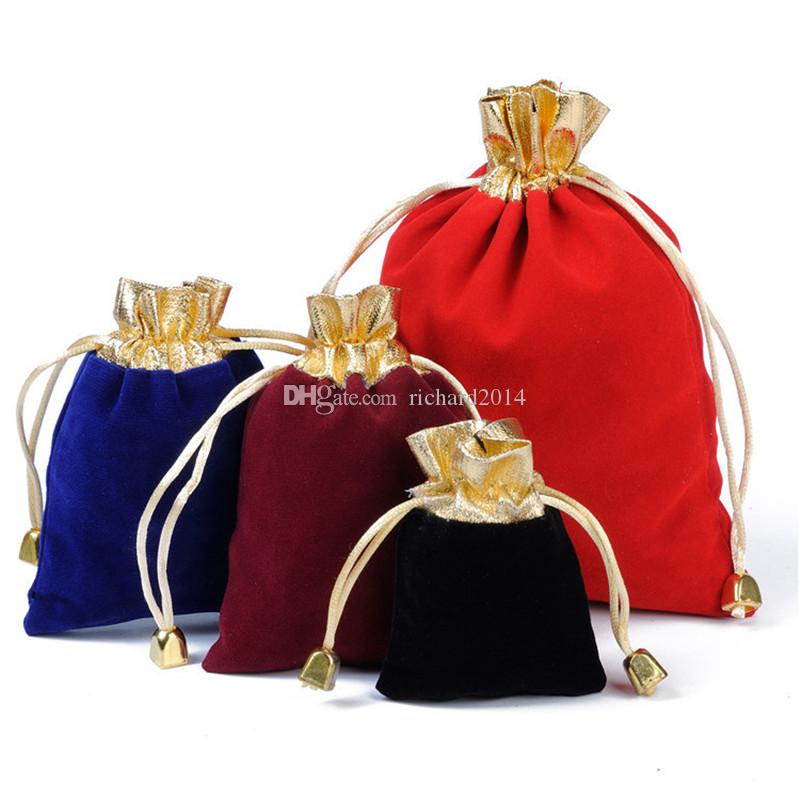 Hot Sale 50pcs/lot Vintage Velvet Package Bags 7x9cm 9x12cm 12x16cm Wine Red Organza Drawstring Gift Bags Wedding Jewelry Packaging Pouches