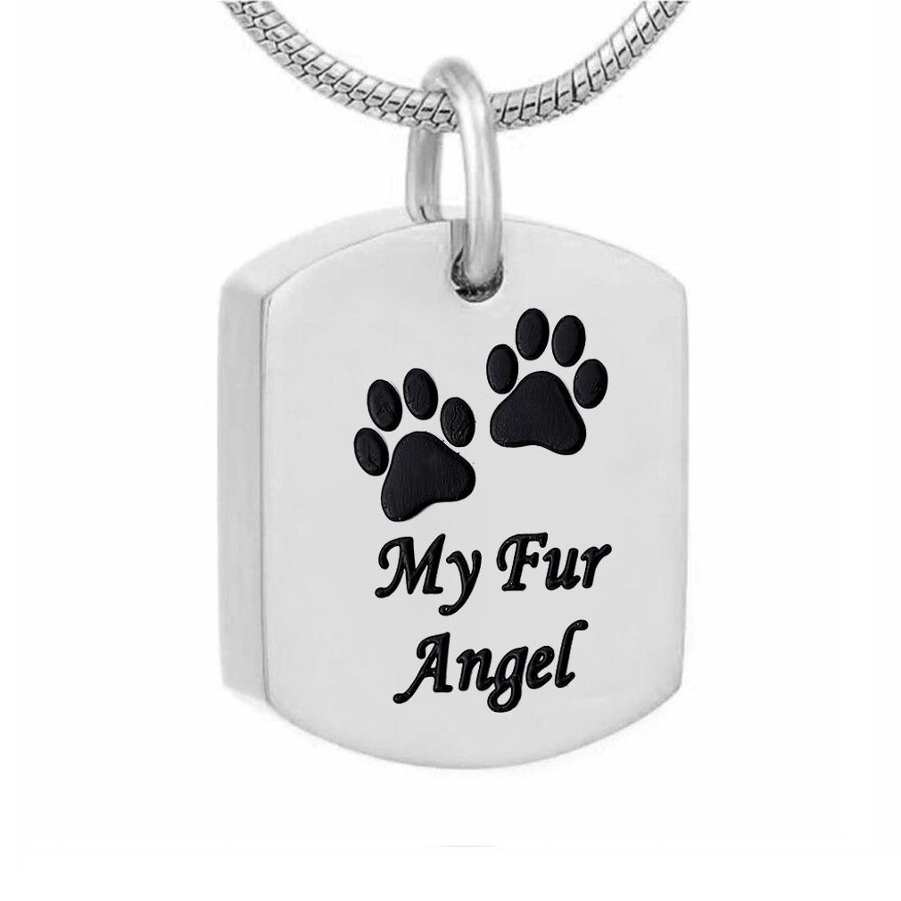 Cuadrado de acero inoxidable Pet Paw print Colgante Memorial urna Collar para cenizas joyería de recuerdo de cremación