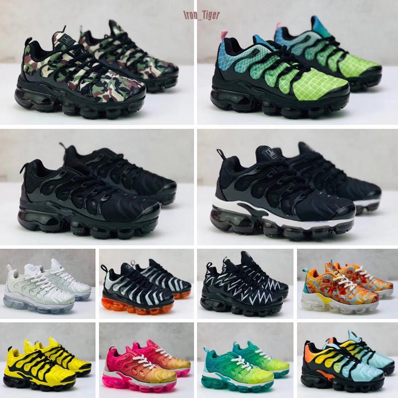 Nike Air TN Plus Niños Niños Tn Además los zapatos corrientes del bebé de Gril Diseñador Blanco Negro Amarillo Rosa Multi Trainer zapatillas Ejército Tns moda verde zapato informal