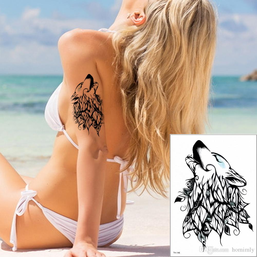 Fake Black Wolf Temporary Tattoo Stickers Designs for Women Men Body Art Waterproof Paper Water Transfer Tattoo Makeup 2020 New Gifts TH-146