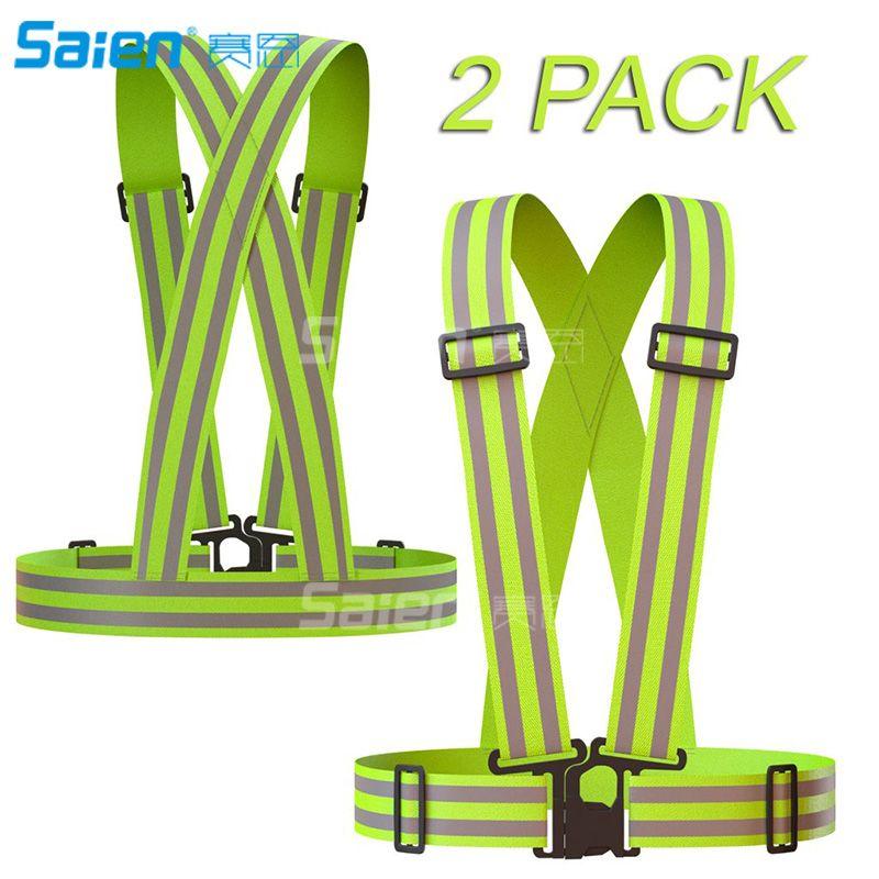 Reflective Vest 2 Pack, Elástico e engrenagem refletiva ajustável para corrida, caminhada, corrida, ciclismo, motocicleta (verde)
