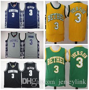Beste Qualität # 55 Dikembe Mutombo Trikots Vintage Allen # 3 Iverson Trikot Weiß Rot Blau # 15 Carmelo Anthony Jersey Genähte Hemden S-XXL
