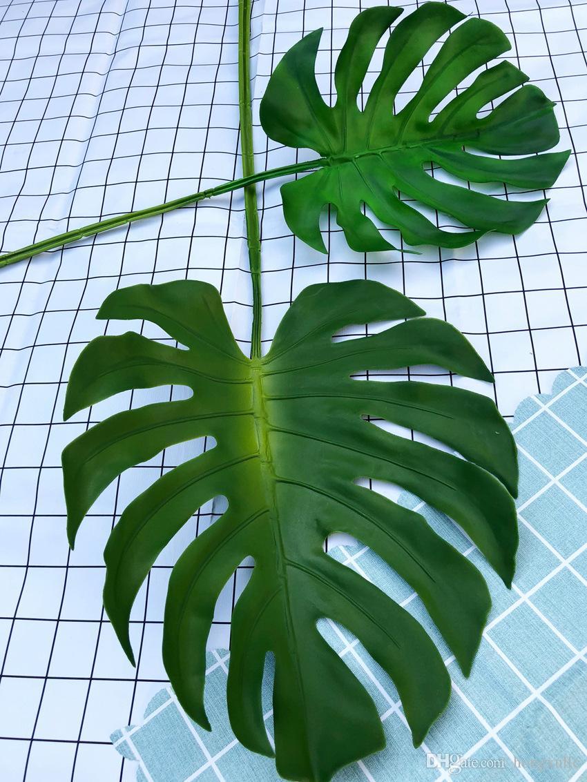 5Pcs Artificial Palms Fern Turtle Leaf Plastic Fake Silk Plant Leaf Home Decor